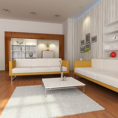 3d render interior of living room with modern style Stock Photo