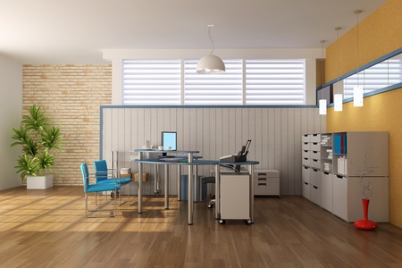 3d render interior of modern office Stock Photo - 8396135