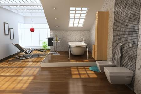 3D Render-Interieur des modernen Badezimmer Standard-Bild - 8396113