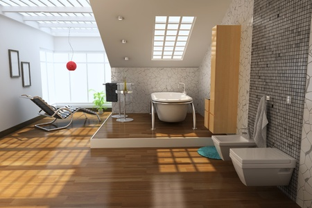 3d render interior of modern bathroom Stock Photo - 8396113