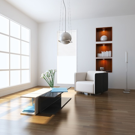 window plant: 3d render interior of modern living room