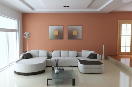 3d render interior of modern living room Stock Photo - 8396098