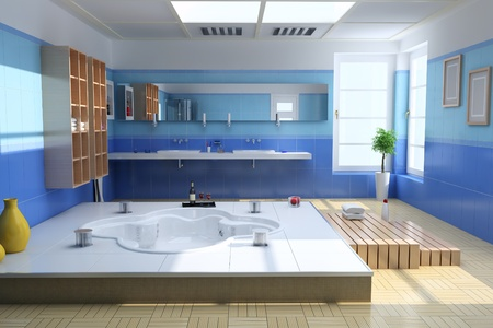 3d render interior of luxury modern bathroom photo