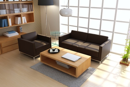 3d render interior of modern living room Stock Photo - 8485586