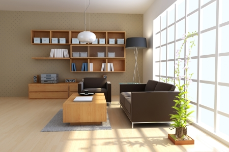 3D Render Interior of modern Living room Standard-Bild - 8486056