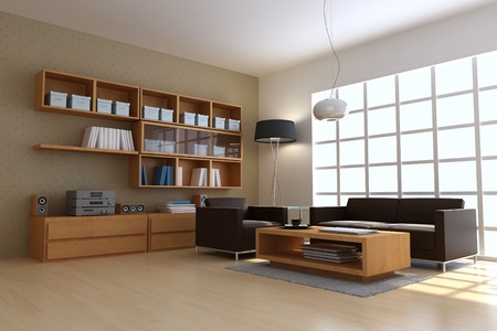 3D Render Interior of modern Living room Standard-Bild - 8486054
