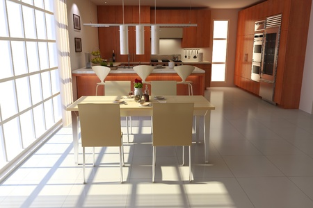 3d render interior of modern dining room Stock Photo - 8486049