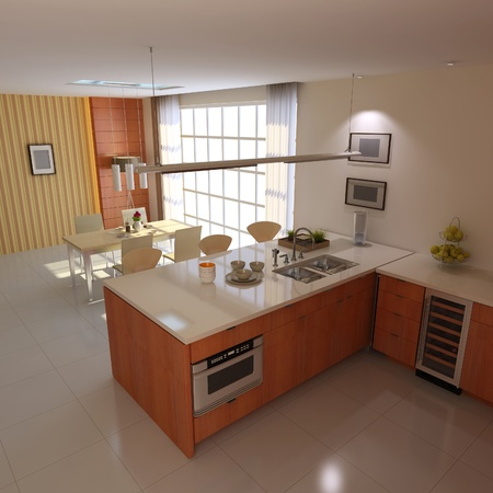 3d render interior of modern kitchen