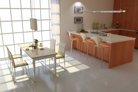 3d render interior of modern dining room Stock Photo - 8486045