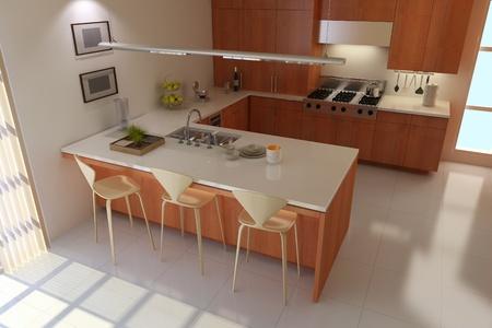 3d render interior of modern kitchen