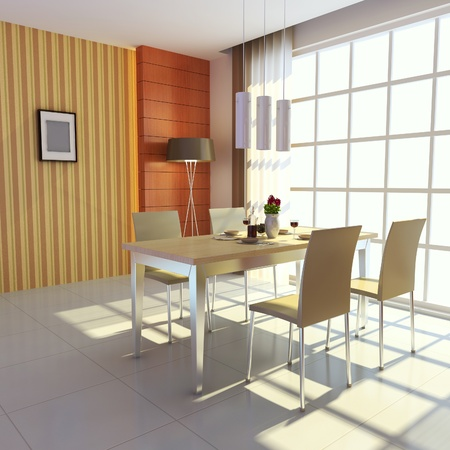 3d render interior of modern dining room Stock Photo - 8486053
