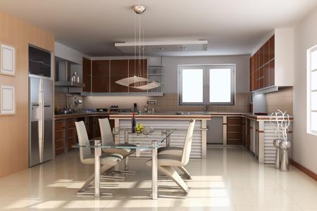 3d render inter of modern dining room Stock Photo - 8486050