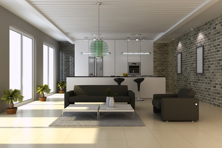 apartment interior: 3d render interior of modern house Stock Photo