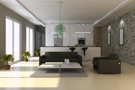case moderne: 3D rendering interni della casa moderna