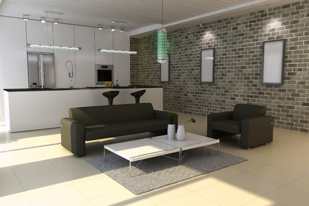3d render interior of modern house Stock Photo - 8518945