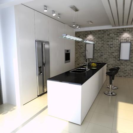 3d render interior of modern domestic kitchen photo