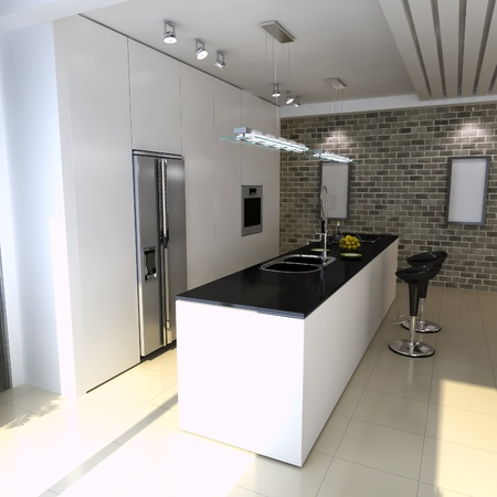3d render interior of modern domestic kitchen