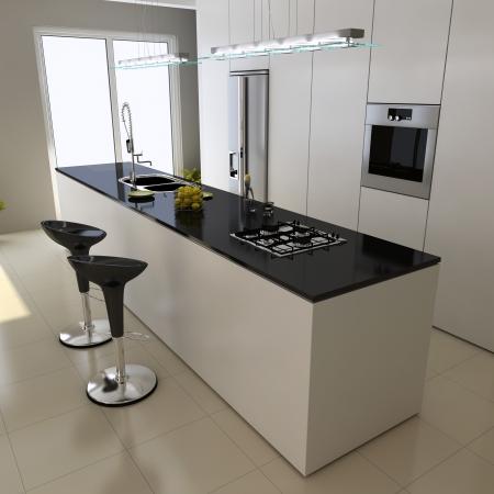 modern kitchen: 3d render interior of modern domestic kitchen