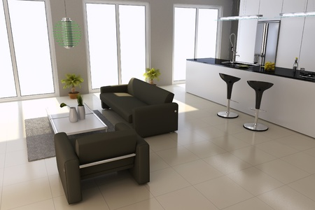 3d render interior of modern house Stock Photo - 8518972
