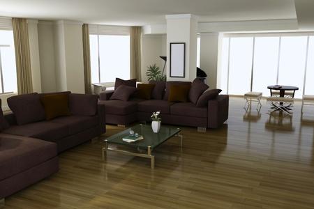 3d render interior of modern living room Stock Photo - 8518958