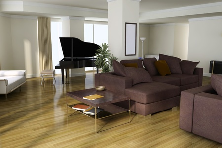3d render interior of modern house Stock Photo - 8518940