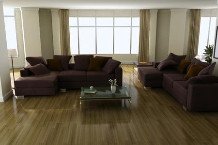 3d render interior of modern living room Stock Photo - 8518942