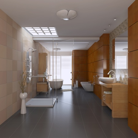 3d render interior of modern bathroom Stock Photo - 8656034