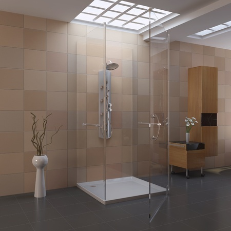 3d render interior of modern bathroom photo