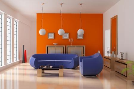 3d render interior of modern living room
