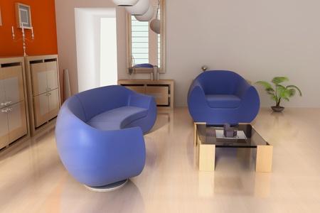 3d render interior of modern living room Stock Photo - 8656011