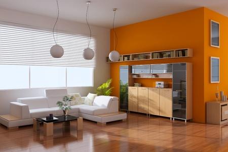 sala de estar: interior de render 3D de la moderna sala de estar Foto de archivo
