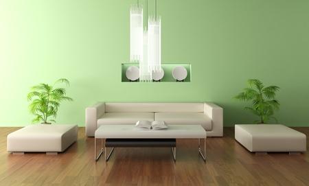 3d render modern living room Banque d'images