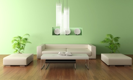 indoor plants: 3d render modern living room Stock Photo