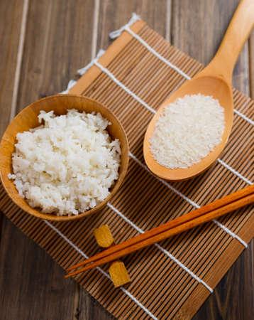 bamboo mat: the rice and chopsticks on bamboo mat Stock Photo