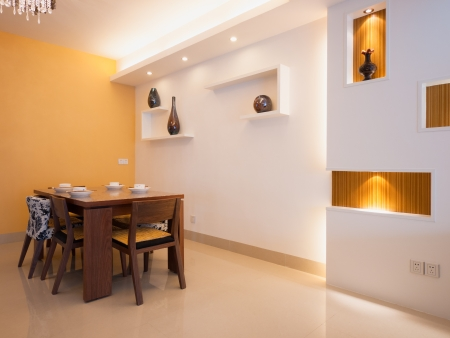 modern dining room with dining table and chairs Standard-Bild