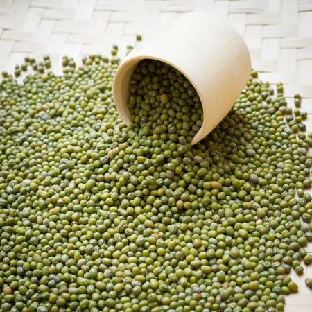 mung bean: mung bean in bamboo tube Stock Photo
