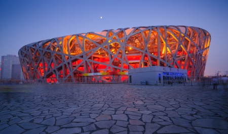 Beijing, China - June 1, 2012: Beijing National Stadium(Bird's Nest) is the 2008 Summer Olympics main stadium,and it also was host to the Opening and Closing ceremonies.The modern and abstract design,made the Bird's Nest becoming the landmark of Beijing,e