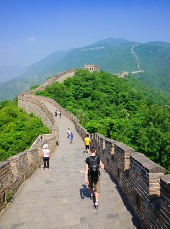 Beijing, China - June 4, 2012: Mutianyu Great Wall in Beijing Huairou,it is the famous part of the Great Wall that was built in Ming Dynasty.In ancient China,the government built the Great Wall and sent the military in here to defensed the invaders from n