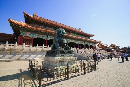 Beijing, China - May 30, 2012: the bronze lion in front of the Hall of Supreme Harmony in Forbidden City.the Forbidden City was built in 1420,it remain intact through the Ming and Qing dynasty.Both in Ming and Qing dynasty,the emperors lived in Forbidden