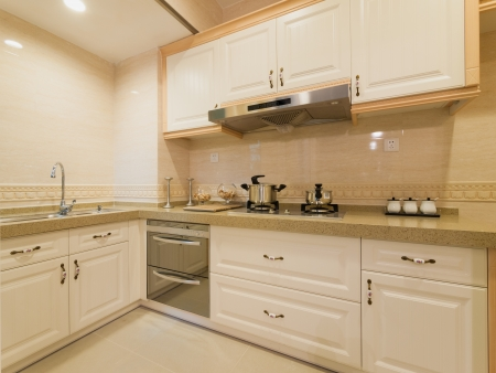 the kitchen with modern cabinet