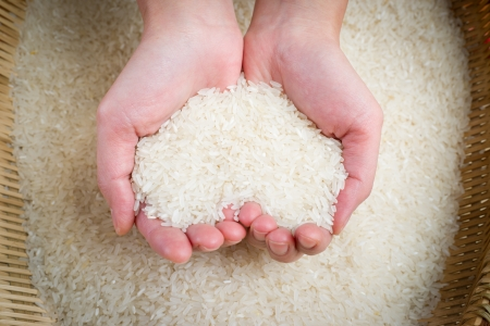 rice on hands
