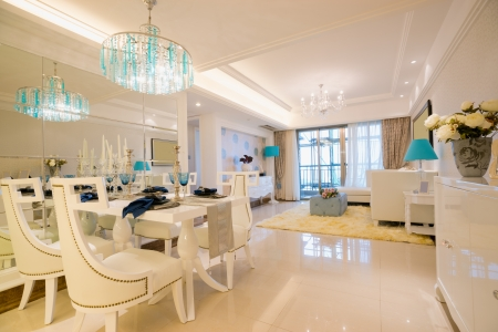 the dining room with luxury furniture photo
