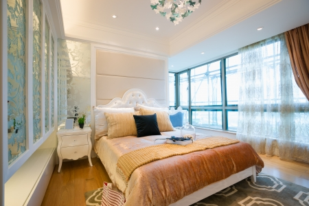 picture window: the bedroom with luxury decoration Stock Photo