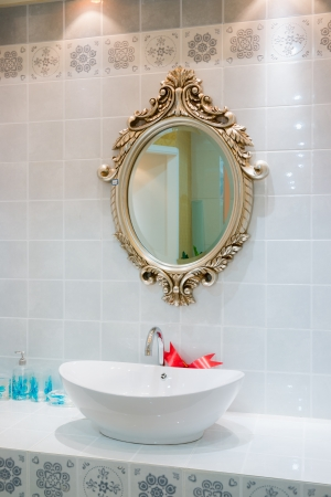 bathroom interior: tap and sink in the modern bathroom Stock Photo