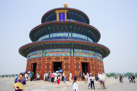 harvests: Beijing, China - May 28, 2012: the Hall of Prayer for Good Harvests in the Temple of Heaven.the Temple of Heaven was built in 1420,it remain intact through the Ming and Qing dynasty,and It is included in the UNESCO world heritage list in 1998.In the past,