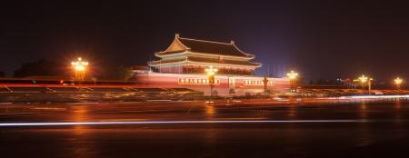 anochecer: escena nocturna de la Puerta de Tiananmen de Heavenly Peace.Tiananmen Gate en Beijing, China.It fue construida en 1420, ahora se convierta en una atracción turística muy famosa, miles de turistas visitan la Puerta de Tiananmen en todo el mundo cada day.And también es el landmar
