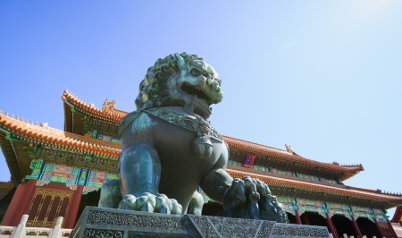 the bronze lion in front of the Gate of Supreme Harmony  in Forbidden City.the Forbidden City was built in 1420,it remain intact through the Ming and Qing dynasty.Both in Ming and Qing dynasty,the emperors lived in Forbidden City and managered this countr