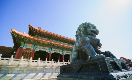 intact: the bronze lion in front of the Gate of Supreme Harmony  in Forbidden City.the Forbidden City was built in 1420,it remain intact through the Ming and Qing dynasty.Both in Ming and Qing dynasty,the emperors lived in Forbidden City and managered this countr Editorial