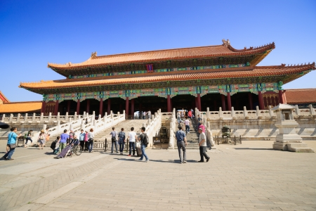 intact: Beijing, China - May 30, 2012: the Gate of Supreme Harmony in Forbidden City.The Forbidden City was built in 1420,it remain intact through the Ming and Qing dynasty.Both in Ming and Qing dynasty,the emperors lived in Forbidden City and managered this coun