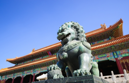 intact: the bronze lion in front of the Gate of Supreme Harmony in Forbidden City.the Forbidden City was built in 1420,it remain intact through the Ming and Qing dynasty.Both in Ming and Qing dynasty,the emperors lived in Forbidden City and managered this country Editorial